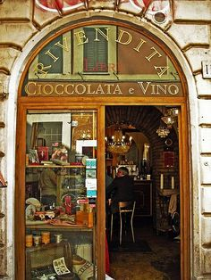 Chocolate and wine cafe in Rome, Italy