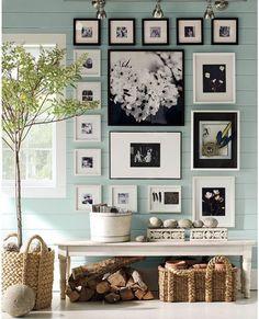 wall colors, picture arrangements, beach cottages, photo walls, color blue, photo arrangement, gallery walls, picture frames, benjamin moore