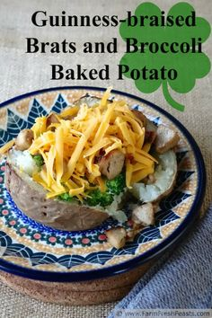 Guinness-braised Brats and Broccoli-topped Baked Potatoes | Farm Fresh Feasts