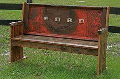 idea, yard, old trucks, garag, tailgat bench, garden benches, church pews, tailgate bench, man caves
