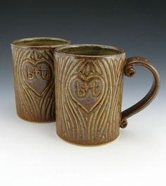 tree-carved initials mugs. wedding mugs
