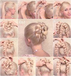 Braided ponytail into a cute bun!