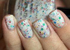 Oh Splat White Glitter Nail Polish with Rainbow by KBShimmer, $8.75