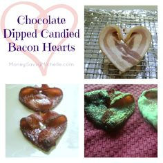 Chocolate Dipped Candied Bacon Hearts