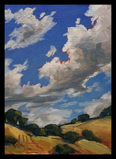 California Impressionist Oil Landscape Western Sky by ARTpaco, $69.00