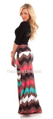Mocha and Coral Chevron Maxi Skirt   Trendy Modest Clothing   Chevron Maxi Skirt