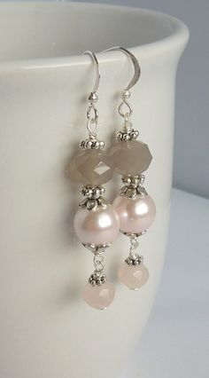 Blush Pink and Gray - Light Pale Pink and Grey Earring - Wedding Jewelry - Bridesmaid Gift on Etsy, $10.00