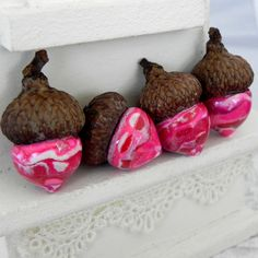 Pink Woodland Acorn Decorations  Handmade Polymer by LavaGifts, $12.00