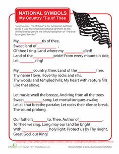 Worksheets: My Country 'Tis of Thee