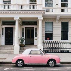 dream, pink car, summer colors