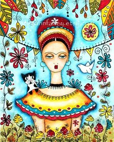 Frida Kahlo Art Print, Girl Art Print, Mexican Art Giclee Illustration, Cat Folk Art, Watercolor, 5 x 6.5, Whimsical Original Art Print. $12.00, via Etsy.