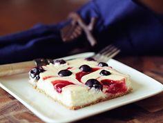 dashing dish: red white and blue swirled cheesecake bars.