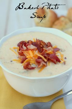 We LOVE this recipe for Baked Potato Soup! It tastes just like Disneyland's version!! #soup