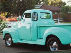 Turquoise classic truck - pictured in Romantic Prairie Style by Fifi O'Neill