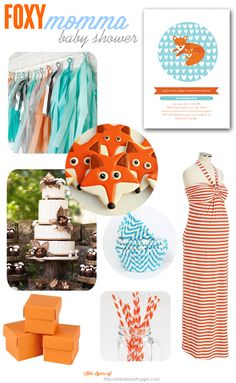 Foxy Momma-to-Be Baby Shower {Orange & Aqua} | TheCelebrationShoppe.com #whatdoesthefoxsay