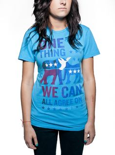 Bipartisan T    Putting political parties aside, we can all meet in the middle to take a stand for peace.  This T-shirt announces to the world that we can all agree on one thing: bringing Joseph  Kony to justice. Bonus: the color is stunning.