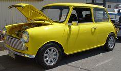 1976 Austin Mini - Yellow - Side Angle  ---  reminds me of Inbetweeners.