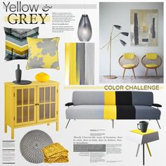"""""""Color Challenge: Yellow and Grey"""" by helenevlacho on Polyvore"""