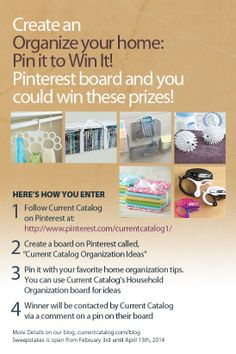 Enter to win a huge household organization prize pack! - Click to see more info.   #PintoWin #PinItToWinIt #HouseholdOrganization