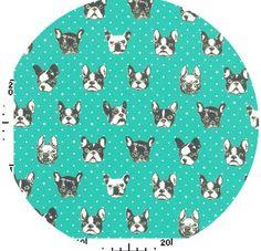 Boston Terrier fabric.   Kokka Japan, Winter 2013, Face of Beauty Turquoise