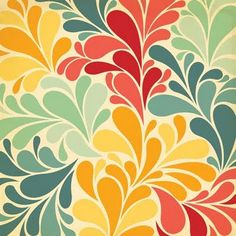 Love the cool teal with shades of yellow-orange and red.