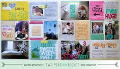 """By Amy Tan with her Plus One collection.  Previous pinner wrote """"Really like the way the dates are done on the bottom right journaling card."""" life inspir, tans, pea, project life, bucket, card, pl ami, scrapbook, ami tangerin"""