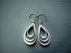 White Recycled Earrings UpCycled. $24.00