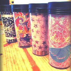 Michaels carries hot or cold mugs that you/children can decorate. Take out the paper from the inside, use it as your template to cut out and use some fun decorative paper and stickers! Voila! Great Valentines gifts!