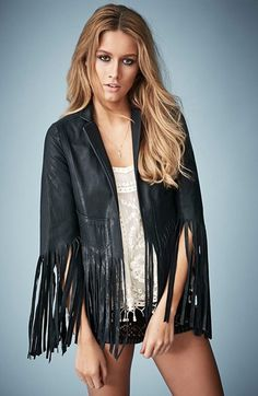 Kate Moss for Topshop Fringed Leather Jacket available at #Nordstrom