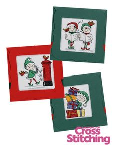 Cheeky elf cards, cross stitch designs by The World of Cross Stitching,  issue195