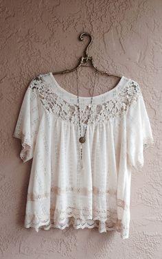 Romantic lace trim bohemian cotton sweater style