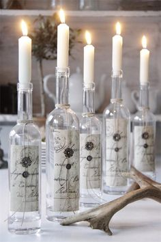 wines, centerpiec, nordic design, dinner party decorations, candle holders, candles, recycled wine bottles, scrapbook paper, french style