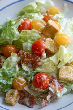 "Recipe for BLT Salad - A ""BLT"" salad - bacon, lettuce and tomato. :-) The dressing absolutely makes this salad! It is so de-li-cious"