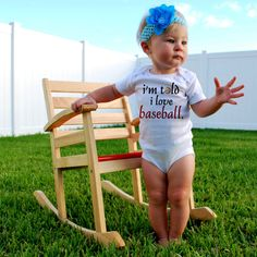 I'm TOLD I LOVE BASEBALL Baby Bodysuits, Tees, Baby Shower, Birthday Party Favor, Sports, Homerun, Humor, Funny, Gift, Present. $14.00, via Etsy.