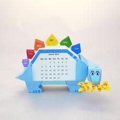 Papercraft Dino Calendar, free template. (Hopefully she'll add 2015 cards soon!)