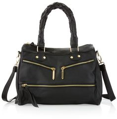 Black faux leather bag. Check out the zippers!