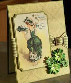 Handmade St. Patrick's Day Vintage-Inspired Card by WhimsyArtCards