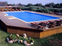 above ground swimming pool with room for lounge chairs