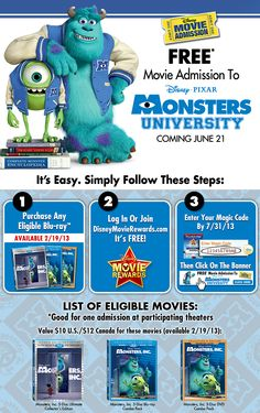 #MonstersUniversity ticket offer!