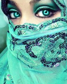 Mysteriously beautiful mint green, aquamarin, eye makeup, venetian masks, blue, color, green eyes, veil, scarv