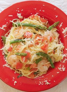 This simple Angel Hair Pasta with Shrimp, Asparagus and Basil dish is easy enough for dinner tonight!