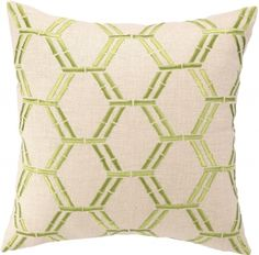 Bamboo Green Embroidered Pillow