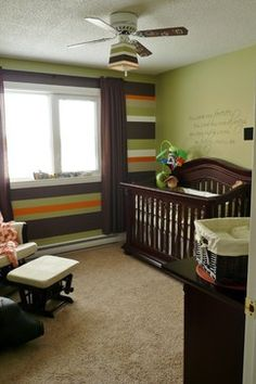 Baby Boy Nursery Design, Pictures, Remodel, Decor and Ideas @Ashlee Outsen Outsen Outsen Outsen Knutson this would be really cool in Dallas' room if you wanted it to blend with the other walls! And I wouldn't mind helping you do it :)