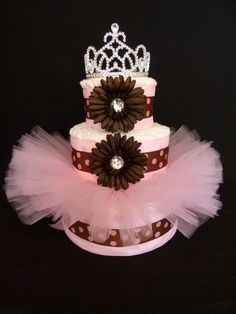 diaper cakes | Babys First Tutu Diaper Cake by mamabijou on Etsy