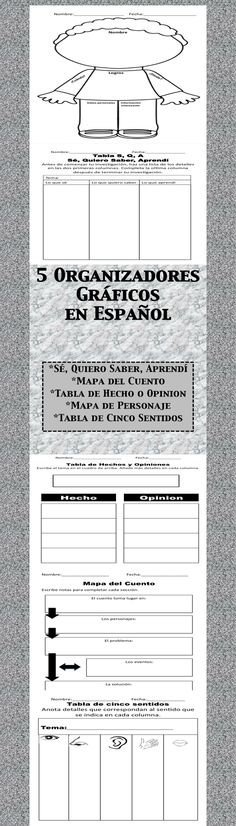 Set of 5 Graphic Organizers completely in Spanish!