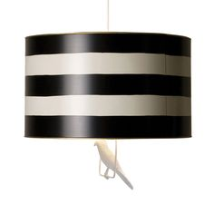 Black and White Tin Pendant Drum Shade - we love it for a glam nursery, but the options are endless! #PNshop