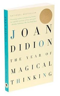 Didion intellectualizes the experience of her husband's death by thinking magical (irrational) thoughts, and in so doing, believes she can undo his death. The book is grief stricken and the unbearable lightness of the words she uses to describe the blackness at losing someone you love, to death, sucks the reader into a vortex of a meaninglessness that defies all logic.  A TOUR DE FORCE PERFORMANCE AT FIVE STARS
