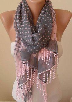 Adorable Gray And Pink Polka Dots Scarf