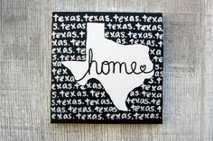 texas // home canvas painting  8x8 small by TaylorSomae on Etsy, $20.00