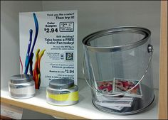 Transparent Paint Bucket Offers Pamphlets